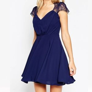 ASOS Kate Lace Mini Dress in Navy size 6